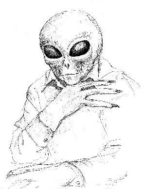 Sketch of Jarod the alien